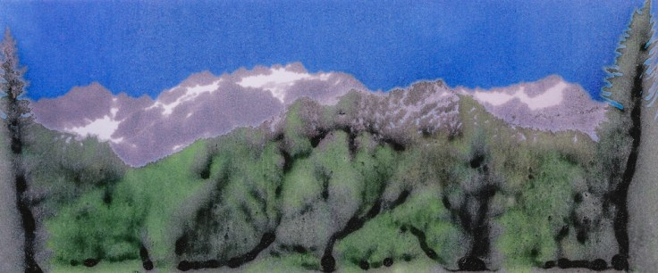 Mt Olympus Inkwork Blurred by Allan J Jones