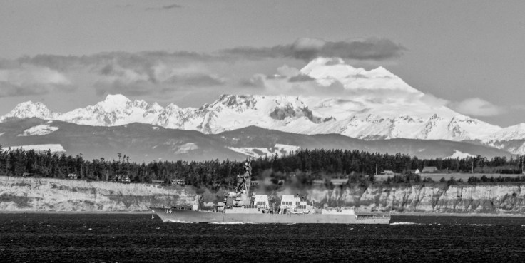 USS Robert Johnson and Mt Baker by Allan J Jones Photography