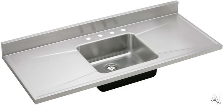 "Elkay S72194 72"" Single Bowl Stainless Steel Sink Top With"