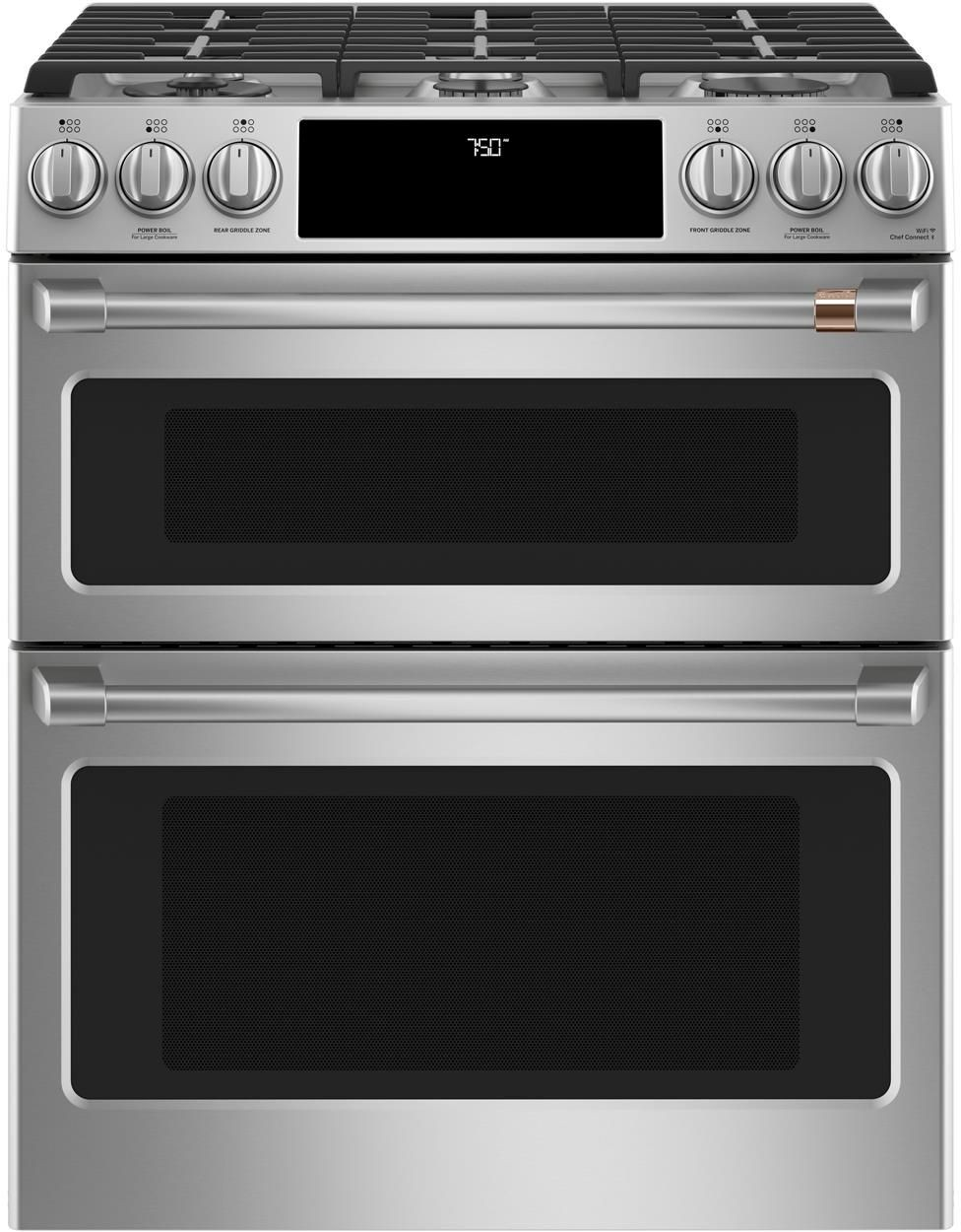 Cucina A Gas Wolf Cafe 30 Inch Smart Slide In Double Oven Gas Range