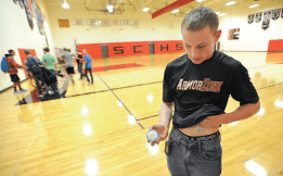 Trenton Jantzi replaces his insulin pump infusion site during a break at school. The high-school senior must change his infusion site every three days. Photo by Mark Ylen / Democrat-Herald.