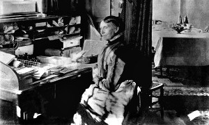 Clara Barton at desk in Red Cross headquarters