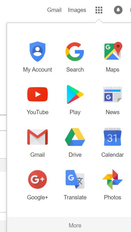 image of Google apps list 1
