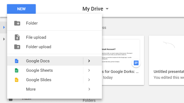Image of Google Docs option