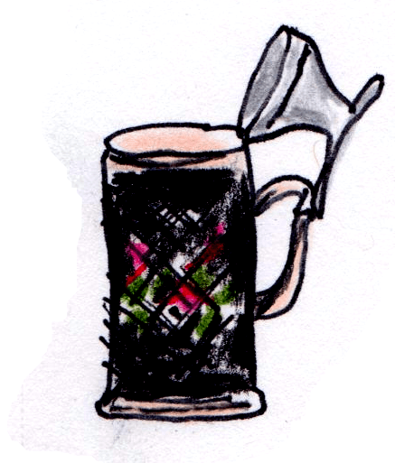 drawing of stein with lid