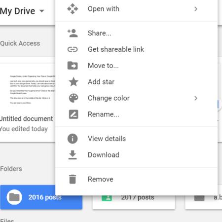 Google Drive folder options