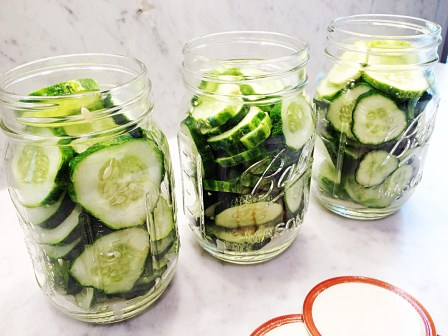 Photo of cucumber slices packed into pint jars