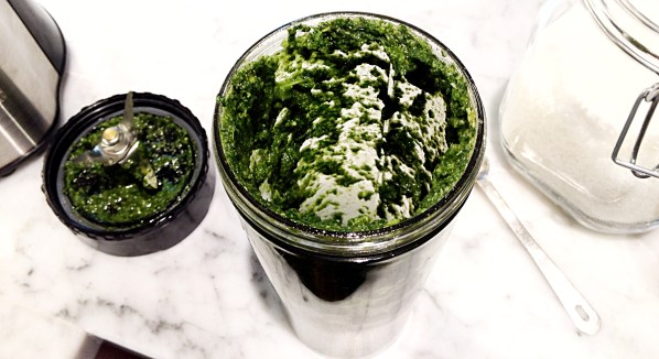 pesto in blender container