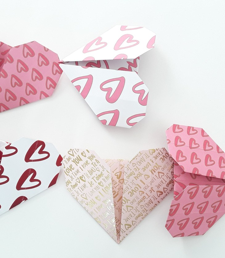 a variety of paper hearts