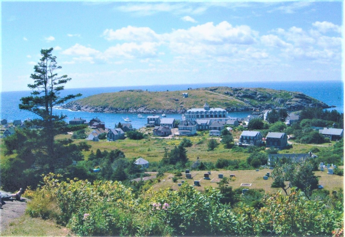 """Looking down upon Monhegan proper and its """"Grand"""" hotel."""