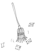broom sweeping away mail envelopes