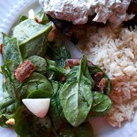 Lamb keftedes served with rice and spinach salad