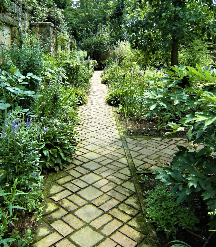 A brick path, set on the diagonal. leads through leafy green plant borders