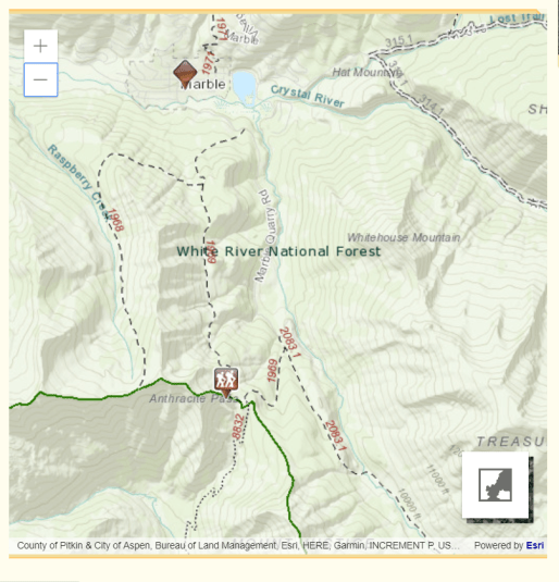 map showing Yule Creek, Anthracite Pass, and Raspberry trail heads