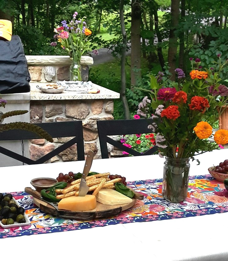 patio table set with appetizers