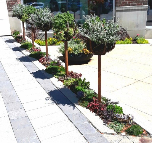 """pots are placed on metal """"sticks"""" in a narrow flower border"""