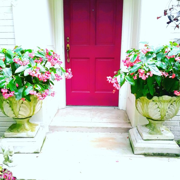 a pink door to the house is set in a white alcove