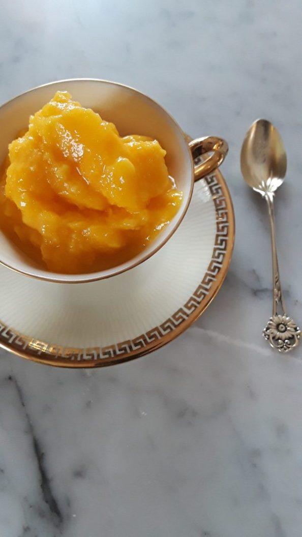 mango sorbet served in a demitasse