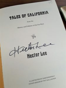 "Title page of Tales of California, signed ""Hector Lee."""