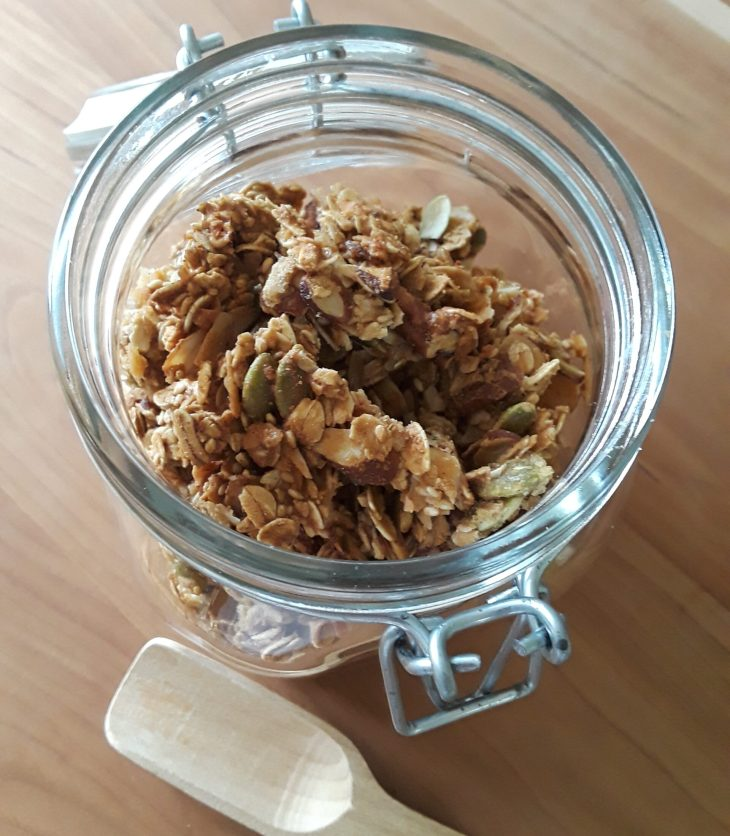 Granola chunks stored in canning jar