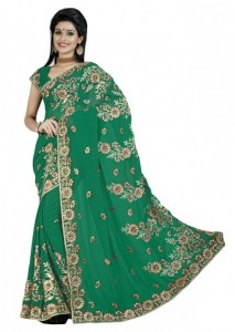 Evoking Green Coloured Embroidered Faux Georgette Sari