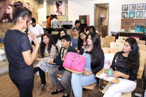 Ms Nilam briefing the guests about HD Brows