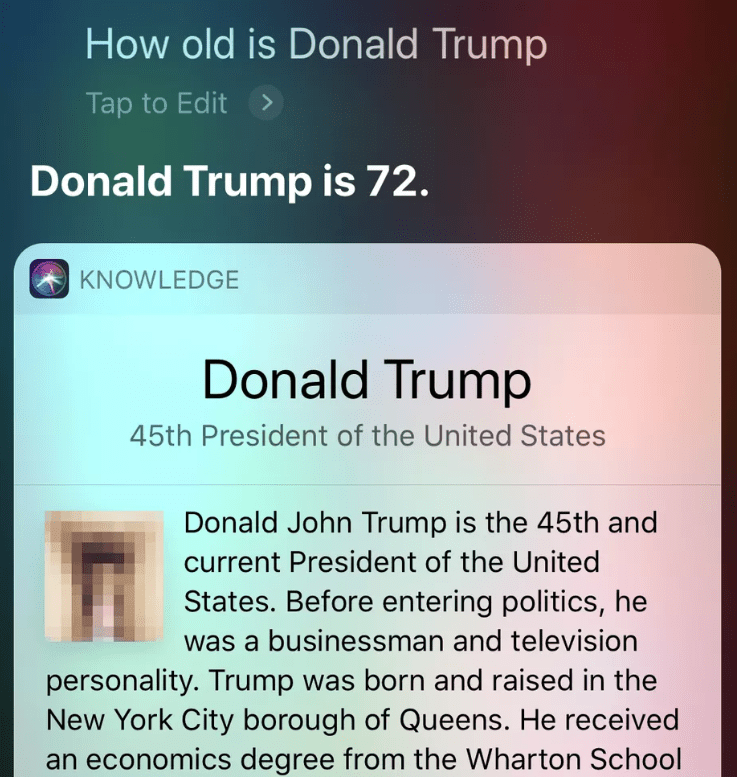 Siri loads penis image in answer to inquiry on Trump age