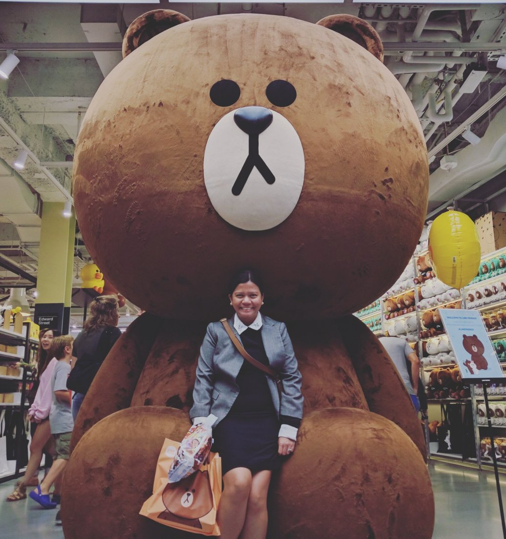 Ruby with big bear at Line Store in New York City