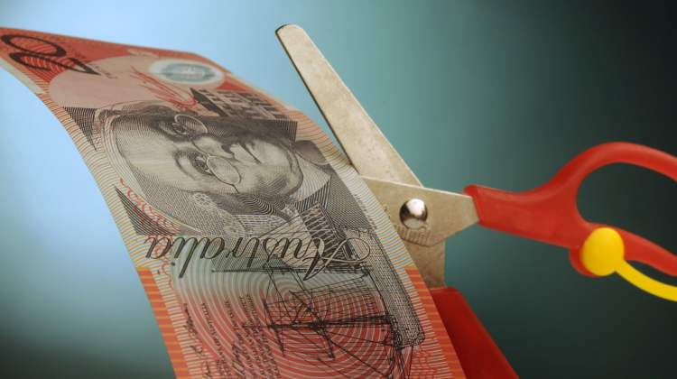 PBS cuts: scissors cutting $20 note