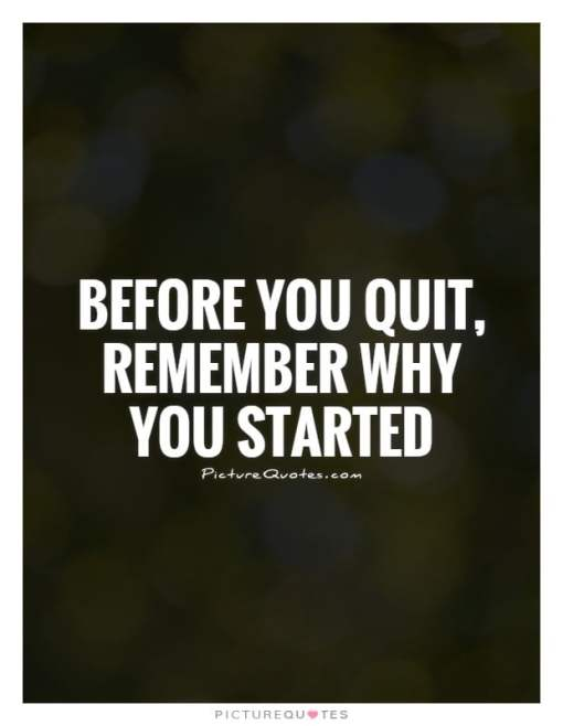 before you quit remember why you started