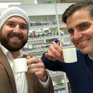 Luke and John enjoying a sneaky morning cuppa.