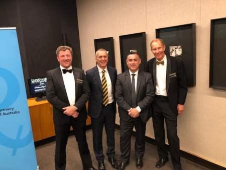 NSW Guild president David Heffernan, Pharmacy Guild national president George Tambassis, Deputy Premier John Barilaro, PSA NSW president Peter Carroll.