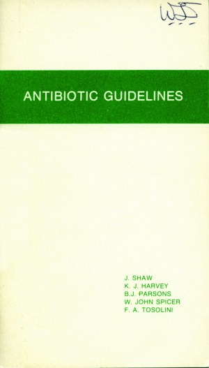 Antibiotic Guidelines First Edition 1978. Credit: Therapeutic Guidelines. https://historytimeline.tg.org.au/
