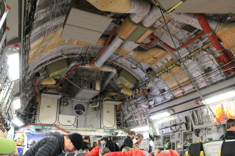 The bare bones (or ribs) on the inside of the C-17.