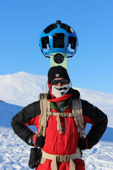 Oh yeah, Abe got to carry the Google Street View camera on the hike home. WOOT WOOT!! Don't pay attention to my crooked mustache, it's the cold... © C. Kelleher