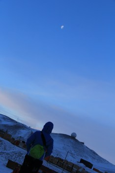 Bev, the Moon, and Antarctica, after a wonderful long evening hike up Ob Hill. © A. Padilla