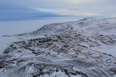 McMurdo Station, from the top of Ob Hill, at WinFly. It is quite beautiful when it is covered in snow! © A. Padilla