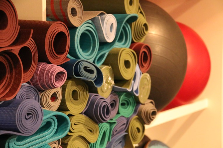 Variety of yoga mats available for use at McMurdo's Fitness Room.