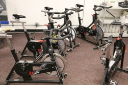 Stationary bike trainers at the Gerbil Gym.