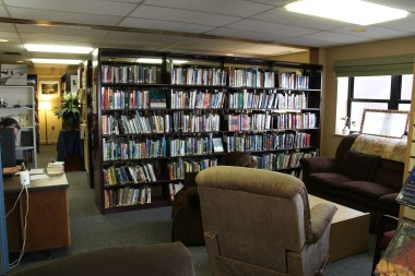 View from the main entrance of the McMurdo Library towards the main bookstack section.