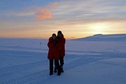 Beverly and Abe enjoying the beautiful sunset on the Ross Ice Shelf. © A. Padilla