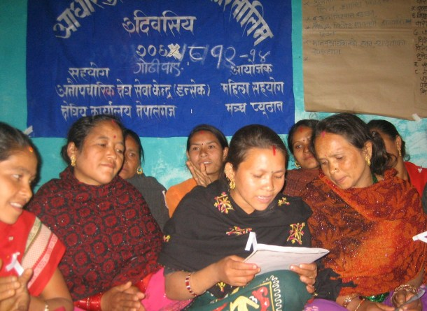 NEPAL - November 2008:  Mothers in Gothiwang village of Pyuthan district brainstorming coping mechanisms during the Maoist insurgency. (Photo by Prakash Adhikari)