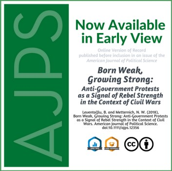 Born Weak, Growing Strong: Anti‐Government Protests as a Signal of Rebel Strength in the Context of Civil Wars