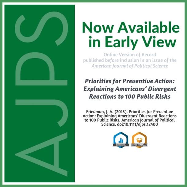Priorities for Preventive Action: Explaining Americans' Divergent Reactions to 100 Public Risks
