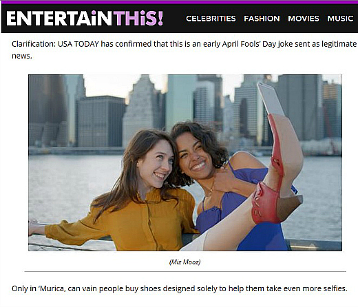 "USA Today ran this clarification on its ""selfie shoes' story."