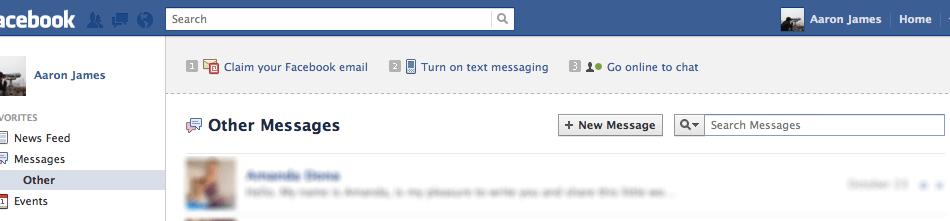Updating 'Fans' through Facebook Messages