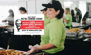"""KFC Employee working a catering event and text on top that says """"250$ Signing Bonus"""""""