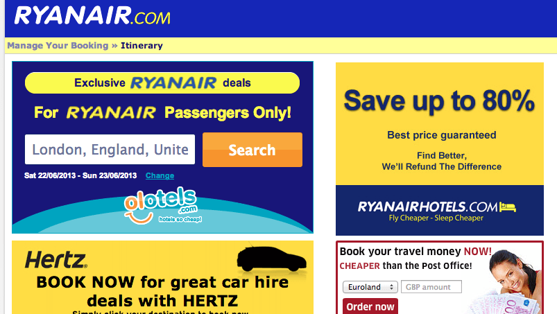 Ryan Air itinerary page