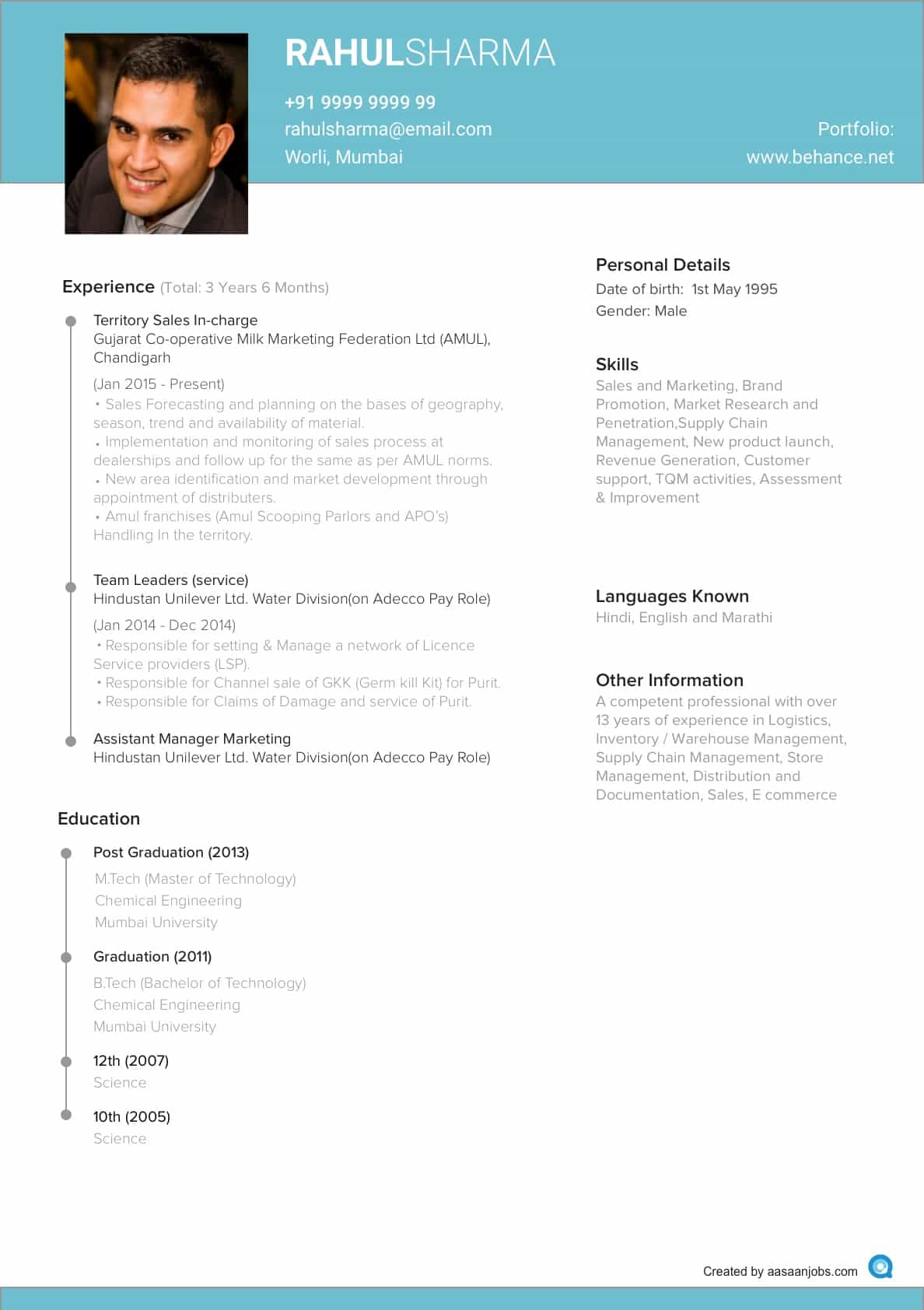 Iti Resume Format Resume Format Cv Format Resume Sample At Aasaanjobs