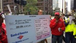Photo: CTU member Georgia Waller calls on Bank of America to give back toxic swap profits